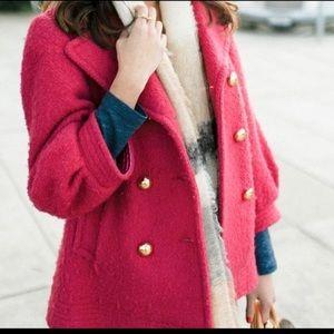 Coach💕 pink teddy bear boucle pea coat jacket EUC